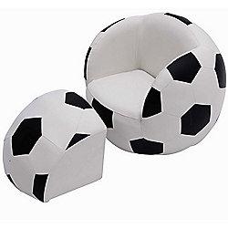 Homcom Children Kids Football Soccer Sofa Set Ball Footstool