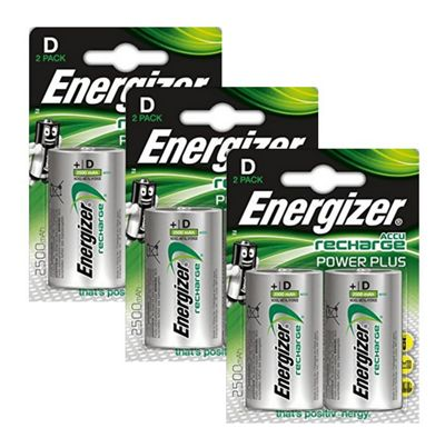 6 x Energizer ACCU Rechargeable D Cell NiMh Batteries (2500mAh)