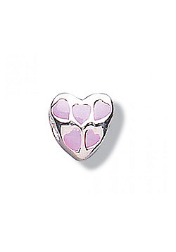 Jo For Girls Bright Pink Heart Silver Slide On Bead