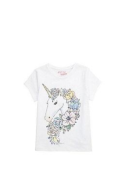 F&F Floral Unicorn T-Shirt - White