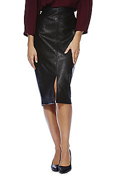 F&F Mock Croc Pencil Skirt - Black