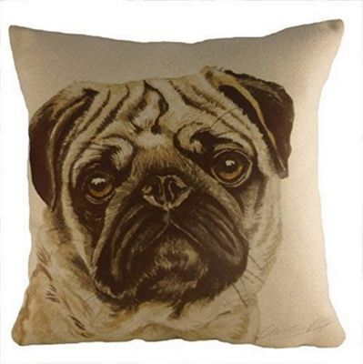 Evans Lichfield WaggyDogz Pug Filled Cushion with Country Check