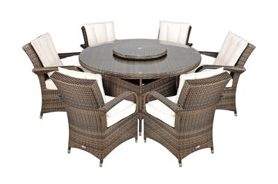 arizona rattan garden furniture 6 seat round glass top table dining set with free parasol with