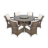Arizona Rattan Garden Furniture 6 Seat Round Glass Top Table Dining Set with Free Parasol with Base, Dust Cover, Cushions & 1 Yr Warranty