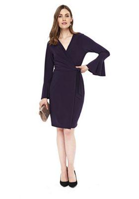 Wallis Bell Sleeve Jersey Wrap Dress Purple 8