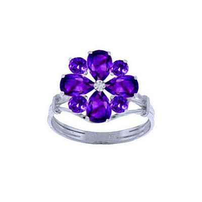 QP Jewellers 2.43ct Amethyst Rafflesia Ring in 14K White Gold - Size K 1/2
