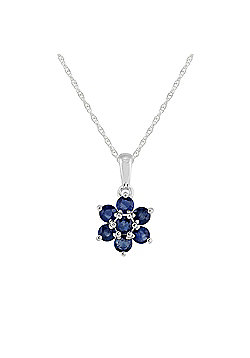 Gemondo Sterling Silver 1.41ct Natural Blue Sapphire Floral Cluster Pendant on Chain