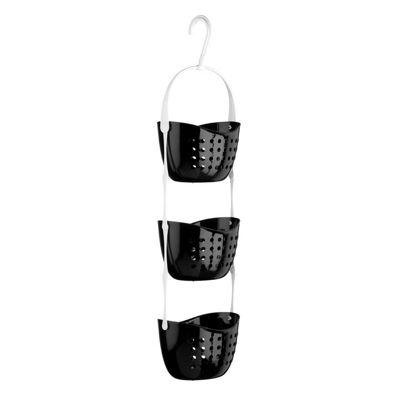Black 3 Tier Plastic Shower Caddy Hanging Basket