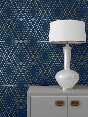 Metro Diamond Geometric Wallpaper - Navy Blue and Gold - WOW003