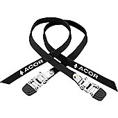 Acor Steel Buckle Pedal Straps. One Pair, Black