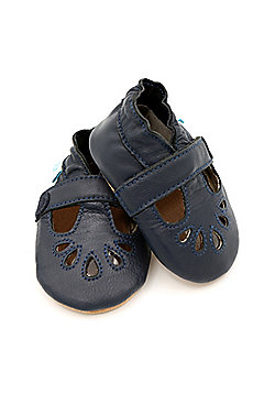 Dotty Fish Soft Leather Baby & Toddler Shoes – Girls Navy T-Bar Design - Navy blue