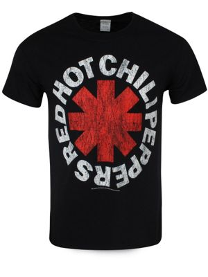 Red Hot Chili Peppers Red Asterisks Men's RHCP T-shirt, Black.