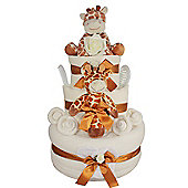 Deluxe New Baby Nappy Cake Gift with Giraffes and keepsake capsule