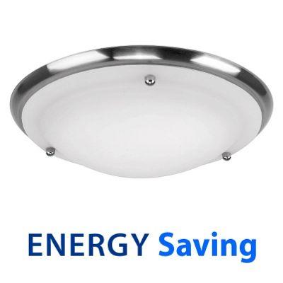 IP44 Energy Saving Flush Bathroom Ceiling Light, Brushed Chrome