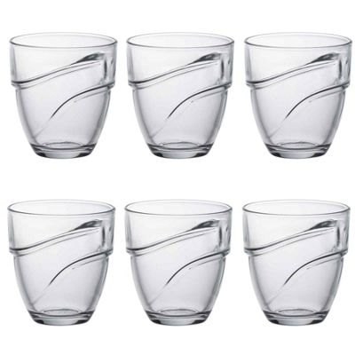 Duralex Wave Stacking Water / Juice Traditional Tumbler Glasses - 220ml - x6
