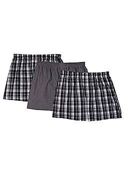 F&F 3 Pack of Checked Woven Boxers with As New Technology - Black