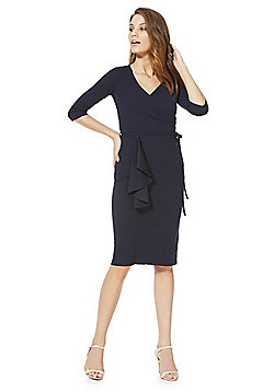 Feverfish Wrap Tie Belt Dress - Navy