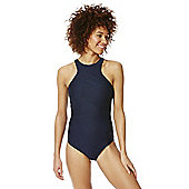 F&F Textured High Neck Swimsuit - Navy