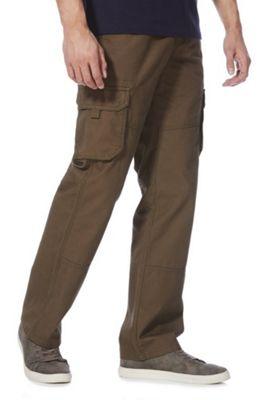 F&F Loose Fit Cargo Trousers Khaki 34 Waist 32 Leg