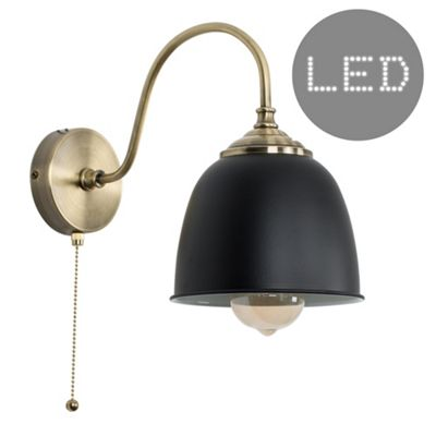 Ashford steampunk led wall light brass black elwick