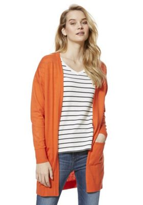 F&F Open Front Long Line Cardigan Orange 6