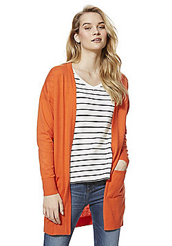 F&F Open Front Long Line Cardigan - Orange