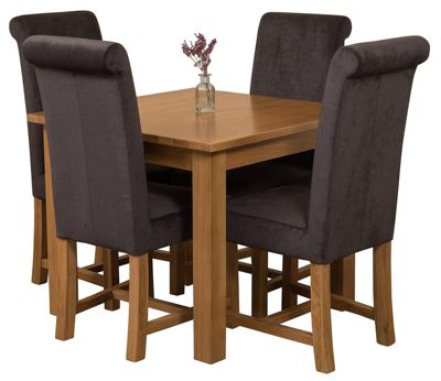 Oslo 90cm Kitchen Solid Oak Dining Set Table & 4 Black Fabric Chairs