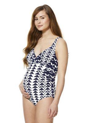 Mamalicious Triangle Print Padded Maternity Swimsuit Navy M