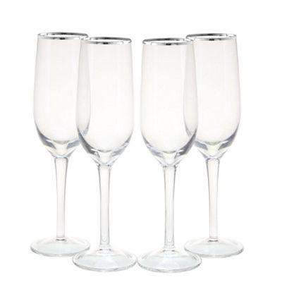 4 Piece Platinum Line Champagne Flutes