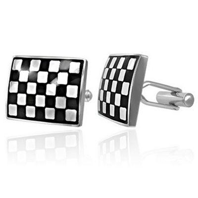 Urban Male Rectangular Stainless Steel Checker Board Cufflinks