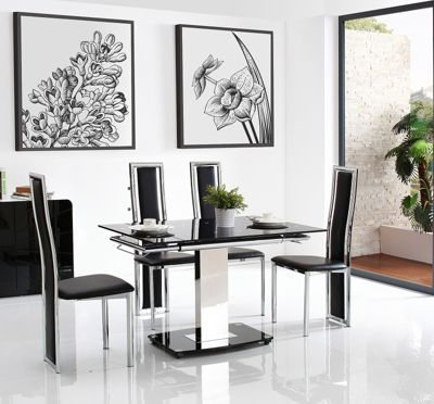 Enzo Black Glass and Stainless Steel Extending 80 - 120 cm Dining Table with 6 Black Elsa Chairs