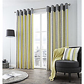 Fusion Rydell Stripe Eyelet Curtains - Lime