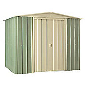 Store More Mist Green Lotus Metal Apex Shed, 8x6ft