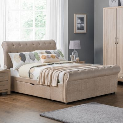 Happy Beds Ravello Fabric 2 Drawer Storage Scroll Sleigh Bed with Pocket Spring Mattress - Mink - 4ft6 Double