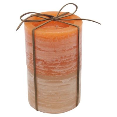 Two Tone Rustic Candle 2 Pack Small Orange