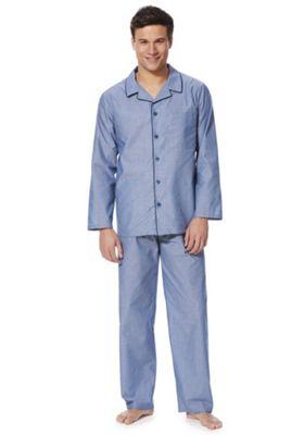 F&F Piped Revere Collar Pyjamas Blue M