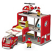 Viga Wooden Fire Station + Fire Engine + Helicopter - NEW ITEM
