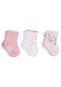 F&F 3 Pair Pack of Elephant Print Ankle Socks - Pink & Multi