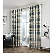 Fuision Balmoral Check Teal Lined Curtains - 46x54 Inches