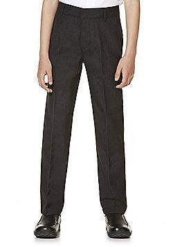 "F&F School 2 Pack of Boys Teflon EcoElite""™ Flat Front Slim Leg Plus Fit Trousers - Dark grey"