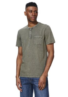F&F Acid Wash Grandad Collar T-Shirt Khaki XL