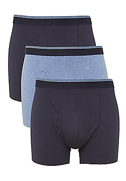 F&F 3 Pack of Marl Trunks - Blue