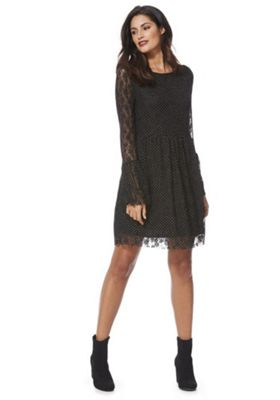 Mela London Spot Lace Fit and Flare Dress 12 Black