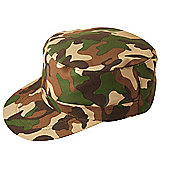 One Size Fits Most Army Camouflage Cap/Hat Fancy Dress Accessory