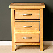 London Oak 3 Drawer Bedside - Light Oak
