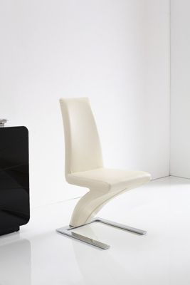 x6 Z designer Steel & Ivory Faux Leather Dining Chairs