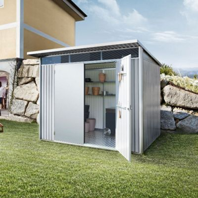8 x 7 Large Premier Heavy Duty Metal Metallic Silver Shed With Double Doors (2.6m x 2.2m) 8ft x 7ft