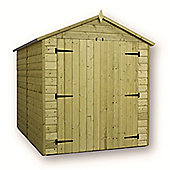 Windowless Premier Pressure Treated T&G Apex Shed + Higher Eaves & Ridge Height + Double Doors