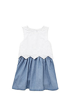 F&F 2 in 1 Chambray Dress - White & Blue