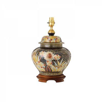 Table Light - Hand painted multi-coloured design with real gold accents & mahogany effect wood